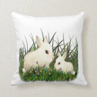 Baby and Mother Bunny Rabbits Among the Flowers Pillow