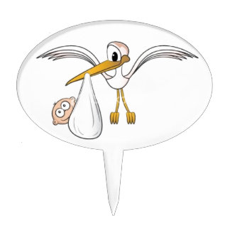 baby and stork cake topper