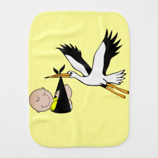Baby and Stork in Yellow Burp Cloths