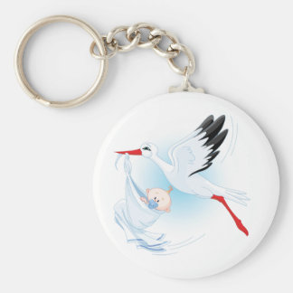 Baby and Stork Keychain