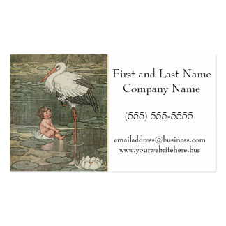 Baby and Stork Vintage Retro Illustration Business Card Template