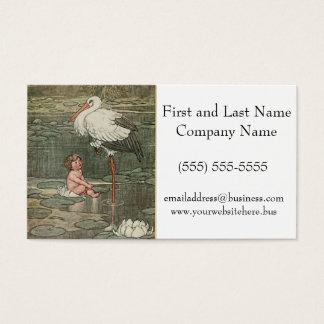 Baby and Stork Vintage Retro Illustration Business Card
