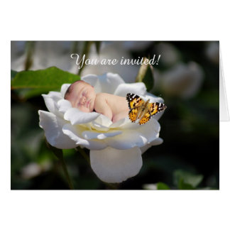 Baby and white rose baby invitation