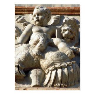 Baby Angel & Lion Sculpture Postcard