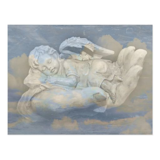Baby Angel Wings Sleeping in God's Hand Post Card