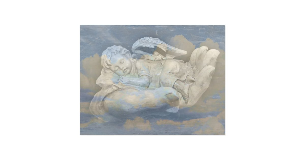 Baby Angel Wings Sleeping in God's Hand Postcard | Zazzle.com
