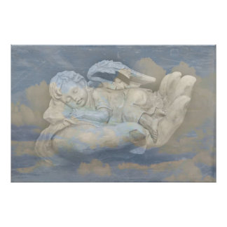 Baby Angel Wings Sleeping in God's Hand Poster