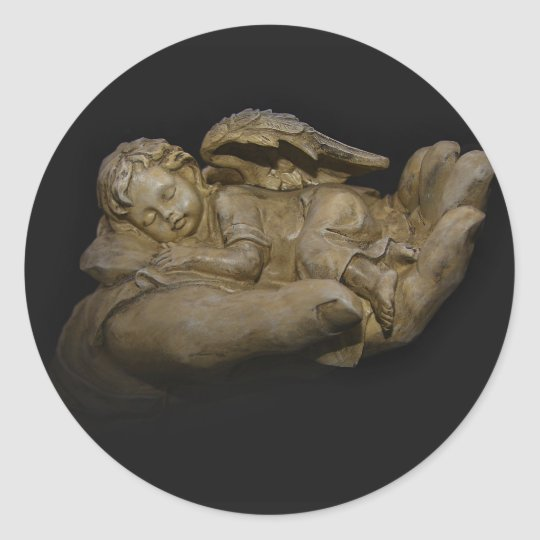 Baby Angel Wings Sleeping in Hand Classic Round Sticker