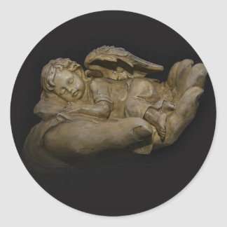 Baby Angel Wings Sleeping in Hand Round Sticker