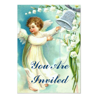 Baby Angel With Blue Bell 5x7 Paper Invitation Card