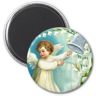 Baby Angel With Blue Bell Refrigerator Magnets