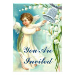 Baby Angel With Blue Bell Personalized Invite