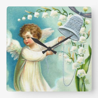 Baby Angel With Blue Bell Square Wall Clock