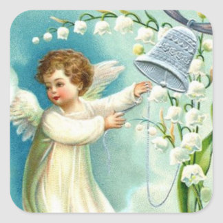Baby Angel With Blue Bell Square Sticker