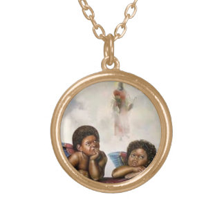 Baby Angels Round Pendant Necklace