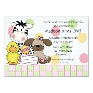 Baby Animals 1st Birthday Girl Invitation