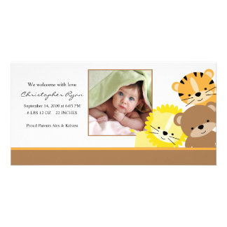 Baby Animals Baby Photo Birth Annoucement Card