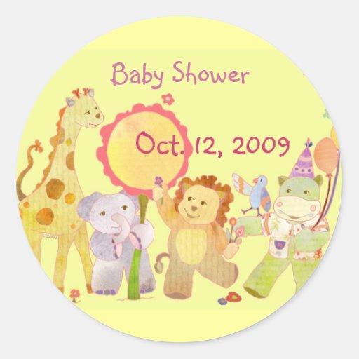 baby animals yellow baby shower invitation sticker zazzle