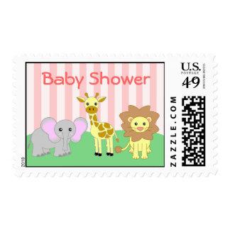 Baby Animals Baby Shower Pink Postage Stamp