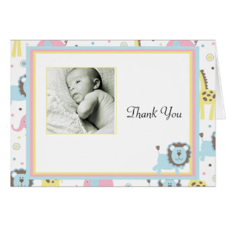 Baby Animals Blue Lion Thank You Card