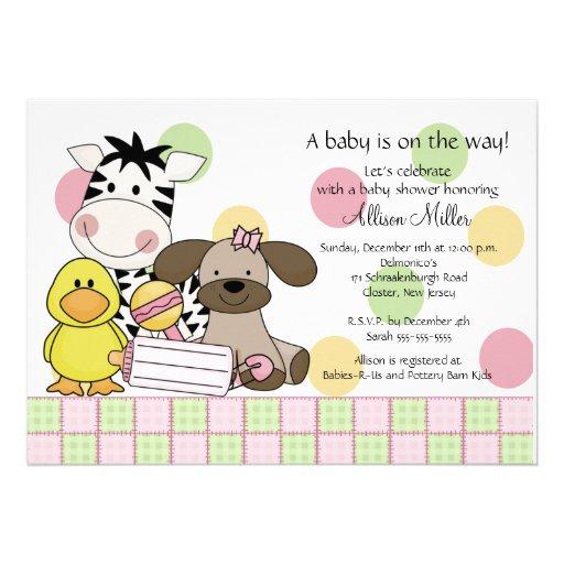 baby animals girl baby shower invitation 5 x 7 invitation card