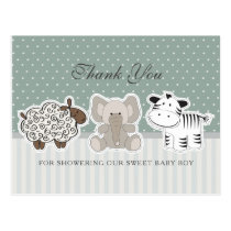 Baby Animals Green Baby Shower Thank You Postcard