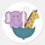 Baby Animals in an Umbrella Round Stickers