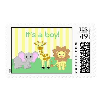 Baby Animals It's A Boy Postage Stamp