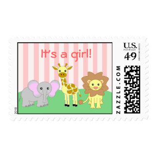 Baby Animals It's A Girl Postage Stamp