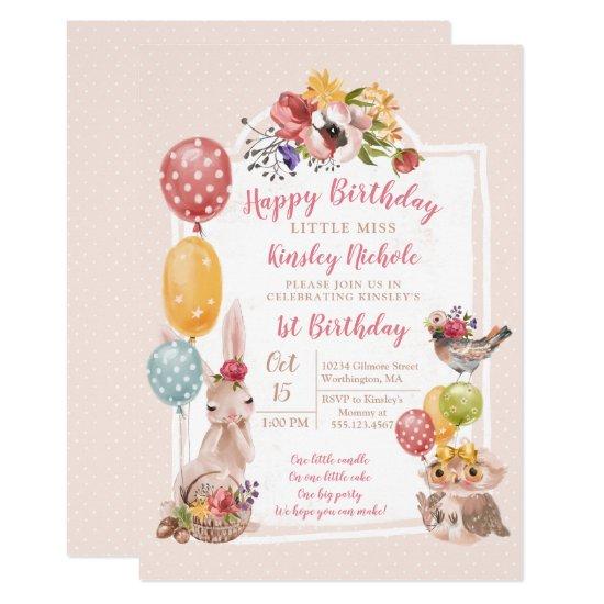 Baby Animals Little Girl Polka Dots Birthday Party Invitation