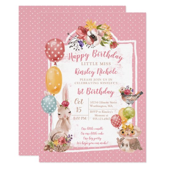 Baby Animals Little Girl's Birthday Party Invitation