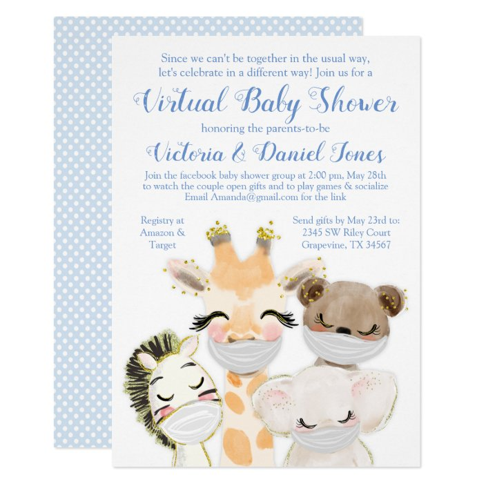 Baby Animals Mask Drive By Baby Shower Invitation Zazzle Com