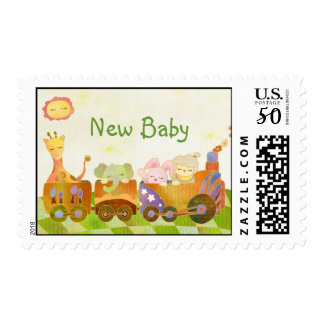 Baby Animals on Choo Choo Train Postage