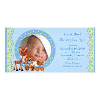 Baby Animals PHOTO  Boy Birth Announcement Photo Card