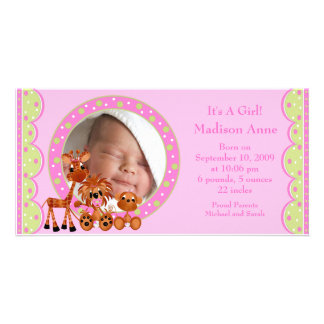 Baby Animals PHOTO Girl Birth Announcement Photo Card