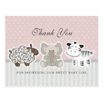 Baby Animals Pink Baby Shower Thank You Postcard