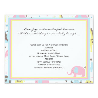 Baby Animals Pink Elephant Baby Shower Card