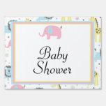 Baby Animals Pink Elephants Baby Shower Yard Sign
