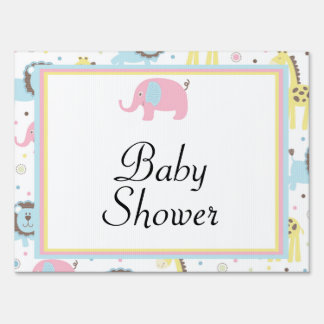 Baby Animals Pink Elephants Baby Shower Yard Sign