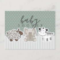 Baby Animals Polka Dots Baby Shower Postcard