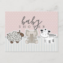Baby Animals Polka Dots Baby Shower Postcard