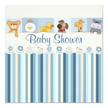 Baby Animals & Stripes Blue Baby Shower Card