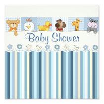 Baby Animals & Stripes Blue Baby Shower Invitation