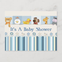Baby Animals & Stripes Blue Baby Shower Invitation Postcard