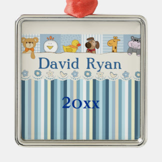 Baby Animals & Stripes Blue Baby Shower Metal Ornament