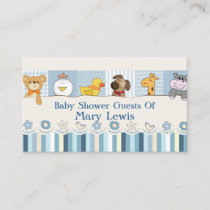 Baby Animals & Stripes Blue Baby Shower Place Card