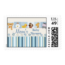 Baby Animals & Stripes Blue Baby Shower Postage