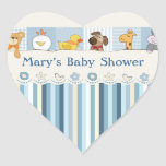 Baby Animals & Stripes Blue Baby Shower Stickers