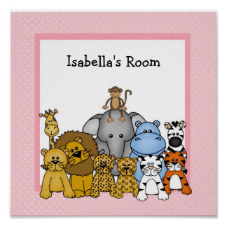 Baby Animals Wall Art print personalized with name