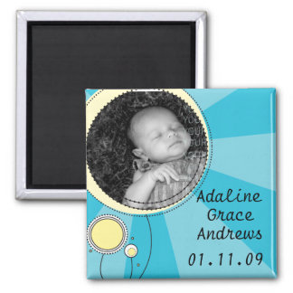 Baby Announcement 2 Inch Square Magnet